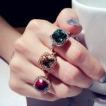 Fashion Sparkling Big Square Green Red Champagne Crystal Stone Engagement Party Ring Rose Gold Color Women <b>Jewelry</b> <b>Accessories</b>