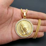 Dropshipping Hip Hop Round Praying Hands Pendants <b>Necklaces</b> Gold Color 316L Stainless Steel <b>Necklace</b> for Women/Men <b>Jewelry</b>