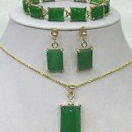 Prett Lovely Women's Wedding Beautiful Green gem bracelet /earrings /Necklace Pendant Set 5.23 silver-<b>jewelry</b> mujer moda