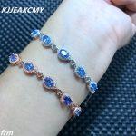 KJJEAXCMY Fine jewelry Multi angle camera in real life, 925 Sterling <b>Silver</b> natural sapphire stone <b>bracelet</b>, blue gemstone