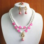 Prett Lovely Women's Wedding w Charming 2Rows White Pearl&Pink Heart gem Necklace Earring Ring <b>Jewelry</b> Set silver <b>jewelry</b>