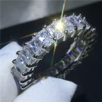 <b>Handmade</b> Finger ring 925 Sterling silver Princess cut 5A zircon Cz Engagement wedding band rings for women Bridal <b>Jewelry</b>