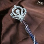 Royal Crown style Scepter Wand Rhinestone Beauty Pageant Wedding Bridal Magic Fairy Queen Double Side Sceptre Prop Staff