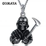GOMAYA <b>Antique</b> Silver Plated Personality Skull Devil Pendant Necklace Titanium Steel <b>Jewelry</b> Collier Rock Punk <b>Jewelry</b>