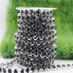 6/8mm Top Quality Sparkle Crystal Black Rhinestone Handmade Silver Strong Chain <b>Jewelry</b> <b>Making</b> ss28-ss38 10yards