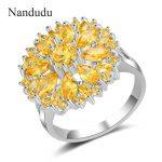 Nandudu High Level Yellow Cubic Zircon Ring Party <b>Jewelry</b> AAA Quality Gift for Women Fashion Design <b>Accessories</b> R1966