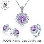 YB New 925 Sterling <b>Silver</b> Natural Gemstone Topaz Citrine Pendant Necklace <b>Earring</b> Ring <b>Silver</b> Crystal Jewelry Free Ship