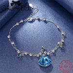 GAGAFEEL Trendy 925 Sterling <b>Silver</b> Star <b>Bracelets</b> Blue Crystal Zircon Adjustable Charm <b>Bracelets</b> Jewelry B235