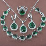 Women's Green Stone Zircon 925 Sterling Silver <b>Jewelry</b> Sets Necklace Pendant Earrings Rings Bracelet Free Shipping YZ0106