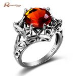 Genuine 925 Sterling Silver Amber Rings <b>Handmade</b> <b>Jewelry</b> Brown Stone Victoria Wieck Rings For Women Wedding Vintage Gift