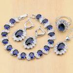 925 Silver Bridal <b>Jewelry</b> Sets Blue Cubic Zirconia White CZ Beads For Women Earrings/Pendant/Ring/Bracelet/<b>Necklace</b> Set
