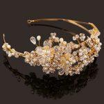 Western Wedding Hair Accessories <b>Jewelry</b> Handmade Gold Crystal Pearl Vine Flower Crown And Tiara Baroque Bride Bridal Headband