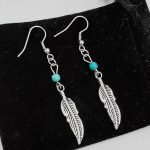 Howlite Beads Feather Charm Dream Catcher Earrings <b>Antique</b> Silver Vintage Fashion Accessory <b>Jewelry</b> Gift For Women And Girls