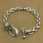 LINSION 925 Sterling <b>Silver</b> Skull OT clasp Mens Chain Biker Rock Punk <b>Bracelet</b> TA42