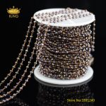 5meters 2x3mm Tiny Glass Rosary Chains <b>Jewelry</b> <b>Supply</b>,Dark Purple AB Titanium Glass Wire Wrapped Faceted Rondelle Chains HX192
