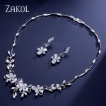 ZAKOL Exquisite Flower Plant Shape Zircon <b>Jewelry</b> Set Elegant Women Earrings <b>Necklace</b> For Best Gift FSSP305