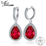 JewelryPalace Luxury Pear Cut 12.4ct Created Red Rubies Dangle Earrings Genuine 925 Sterling Silver Earrings <b>Wedding</b> <b>Jewelry</b>