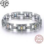 J.C Women Classic Style Amethyst & Citrine & Peridot Topaz Fine <b>Jewelry</b> Bracelets Genuine 925 Standard <b>Sterling</b> <b>Silver</b> Bracelet