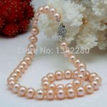 8-9mm Pink freshwater pearl necklace 18 inches DIY flower button women <b>jewelry</b> <b>making</b> design gift