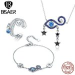 BISAER Authentic 925 Sterling <b>Silver</b> Blue CZ Lucky Magic Eye Guard <b>Bracelet</b> and Necklace Jewelry Sets for Women Fashion Jewelry