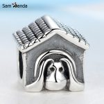 Authentic 925 Sterling Silver Bead Charm <b>Antique</b> European Dog House Beads Fit Pandora Bracelets & Bangles Women DIY <b>Jewelry</b>