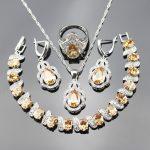 Yellow Orange Morganite 925 Stamp Fashion Jewelry Sets For Women <b>Silver</b> Color Necklace/Earrings/Ring/Pendant/<b>Bracelets</b> bjs25