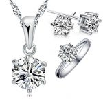Giemi Hot Woman's Birthday Gift Wedding Jewelry Set Fashion Solid 925 Sterling <b>Silver</b> Crystal <b>Necklace</b> Ring Earring 3 pcs/sets