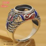 Royal 100% 925 Sterling Silver Ring Blank <b>Jewelry</b> Fit Round 10mm Cloisonne Vintage Ring Base Tray for DIY <b>Handmade</b>
