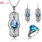 Indian Bridal Jewelry Sets Vintage Oval Blue Stone Soild 925 Sterling <b>Silver</b> Crystal Wedding Jewelry Set Pendant/<b>Earrings</b>/Ring