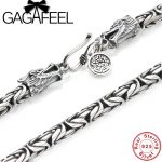GAGAFEEL Vintage 925 <b>Sterling</b> <b>Silver</b> Chain Man Necklace Dragon Head Thai <b>Silver</b> Necklace for Men <b>Jewelry</b> Punk Style High Quality