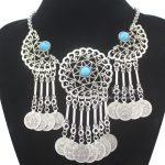 Tribal <b>Antique</b> Silver Filigree Turkey Blue Stone Beads Coins Navajo Zuni Bib Necklace <b>Jewelry</b> 2018 New