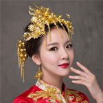 <b>Handmade</b> Bridal Phoenix Hairwear Vintage Wedding Hair Accessories Gold Color Chinese Style Hair Sticks Earrings <b>Jewelry</b> Set Gift
