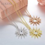 LUKENI New Design Personality Fashion Women S925 Sterling <b>Silver</b> Inlay Zircon Geometric Flowers <b>Necklaces</b> Jewelry