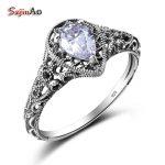 Szjinao High Quality 925 Silver Wedding Rings For Women Waterdrop Shape White Zircon Punk Vintage Style 100% <b>Handmade</b> <b>Jewelry</b>