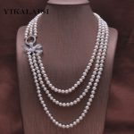 YIKALAISI 2017 NEW 100% Natural Freshwater Pearl Long <b>Necklace</b> 7-8 mm Real Pearl Length 170CM For Women Best Gifts for girls