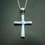 Religious <b>Jewelry</b> Natural Larimar Cross Pendant in 925 Sterling <b>Silver</b> Christian <b>Jewelry</b> Cross Pendant Charm