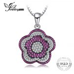 JewelryPalace Flower 1.20ct Created Ruby Pave Pendant 925 Sterling <b>Silver</b> <b>Jewelry</b> gift for women hot selling Not Include A Chain
