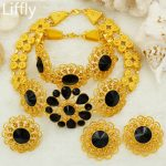AAAAAA New African <b>Fashion</b> Wedding <b>Jewelry</b> Gold Dubai Nigerian Women's Big Flowers Short Necklace Ring Charm Bride <b>Jewelry</b> Sets