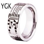 YGK Brand <b>Jewelry</b> Hot Sales 8MM CIRCUIT BOARD His/Her Shiny Silver Pipe Comfort Fit Men's Tungsten Wedding Rings