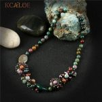 KCALOE Vintage <b>Handmade</b> Chokers Necklaces For Women Natural India Onyx Crystal Pendant Necklace Beaded <b>Jewelry</b> Colar Choker