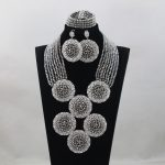 Top Design <b>Silver</b> Nigerian Wedding African Beads Jewelry Set African Jewelry Sets Bead Necklace Jewelry Set Free ShippingABL995