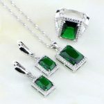 Natural Square Green Created Emerald White Zircon Sterling Silver <b>Jewelry</b> Sets For Women Wedding Earrings/Pendant/Necklace/Ring