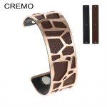 Cremo Zebra Bangle Stainless Steel Bracelet Bijoux Femme Giraffe Cuff 25mm Leather Interchangeable Reversible Bangles <b>Jewelry</b>