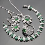Valentine's Day 925 Sterling Silver Green Cubic Zirconia <b>Jewelry</b> Sets For Women Earrings/Pendant/<b>Necklace</b>/Rings/Bracelets