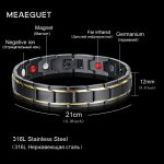 Meaeguet Health Bio Magnetic Bracelet Super Far Infrared Germanium Stainless Steel Cuff Pulseira Therapy Bangle <b>Jewelry</b>