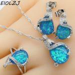 925 Sterling Silver <b>Jewelry</b> Sets For Women Geometric Blue Opal <b>Necklace</b> Pendant Stud Earrings Choker Ring Gift Box Free Ship