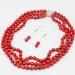 3 rows natural red coral 7mm round beads <b>jewelry</b> set for women <b>necklace</b> dangle earrings weddings anniversary gifts 17-19″ B3455