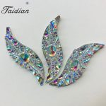 Hot Sale Fashion Sewing AB Earrings Rhinestones For <b>Native</b> <b>American</b> Powwow Bead Working 14*47MM 50pcs/lot Leaf Shape