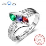 Family Ring Personalized Birthstone Engrave Name Rings 925 Sterling Silver <b>Jewelry</b> Anniversary Birthday Gift (JewelOra RI102985)