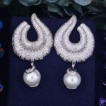 GODK 65mm New Arrival Luxury Trendy Conch Simulated Pearl Full Mirco Cubic Zirconium Naija <b>Wedding</b> Women Earring Fashion <b>Jewelry</b>